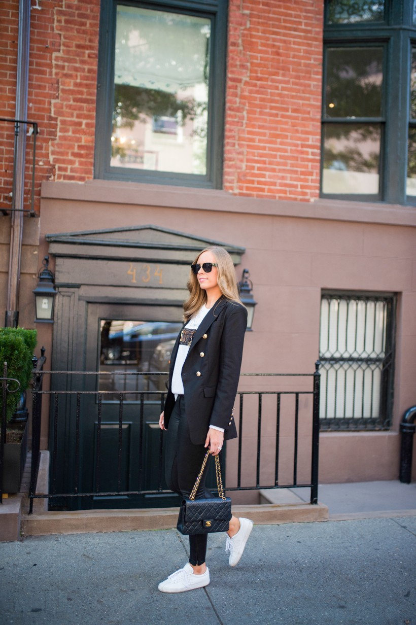 kut from the kloth coffee wine sequin sweater j brand leather pants chanel bag celine sunglasses fall outfit ideas top us fashion blog style elixir lauren slade 2