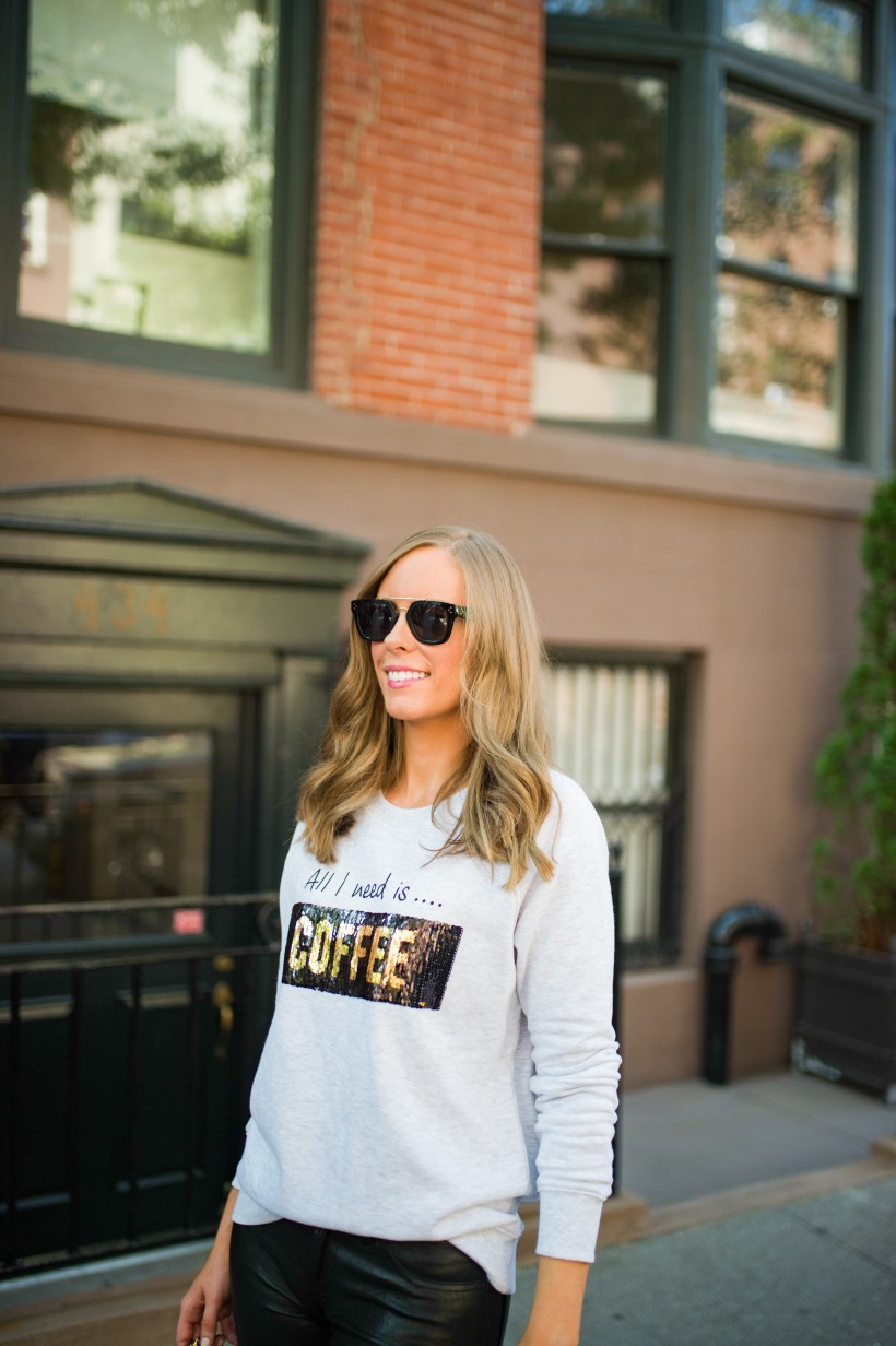 kut from the kloth coffee wine sequin sweater j brand leather pants chanel bag celine sunglasses fall outfit ideas top us fashion blog style elixir lauren slade 22