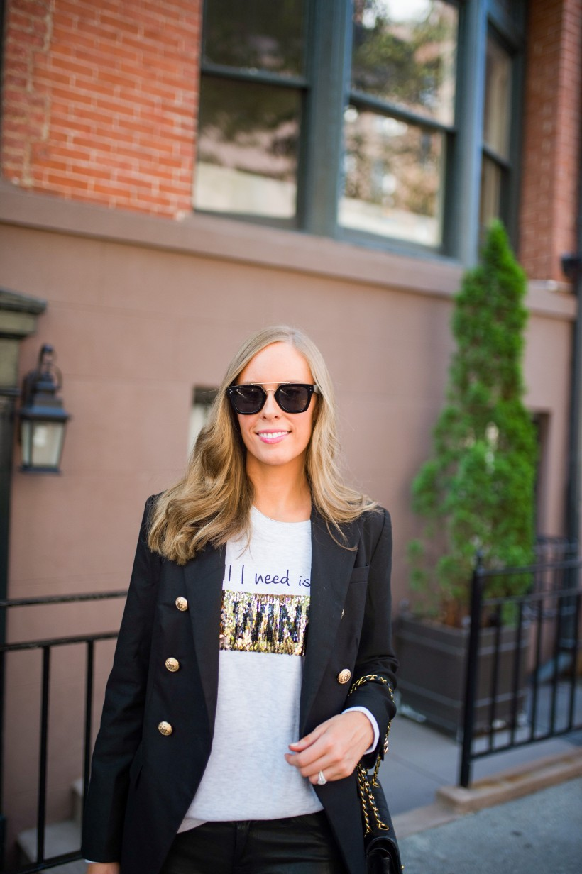 kut from the kloth coffee wine sequin sweater j brand leather pants chanel bag celine sunglasses fall outfit ideas top us fashion blog style elixir lauren slade 9