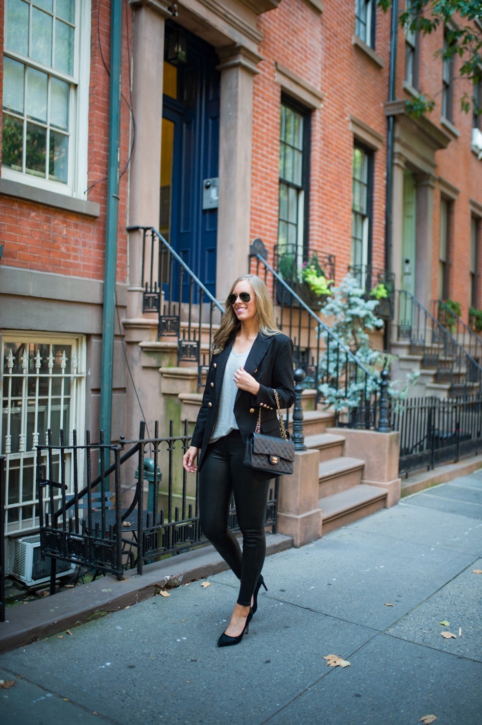 blazer and leather pants outfit ideas grey tee and leather chanel flap bag fashion blogger new york street style 1