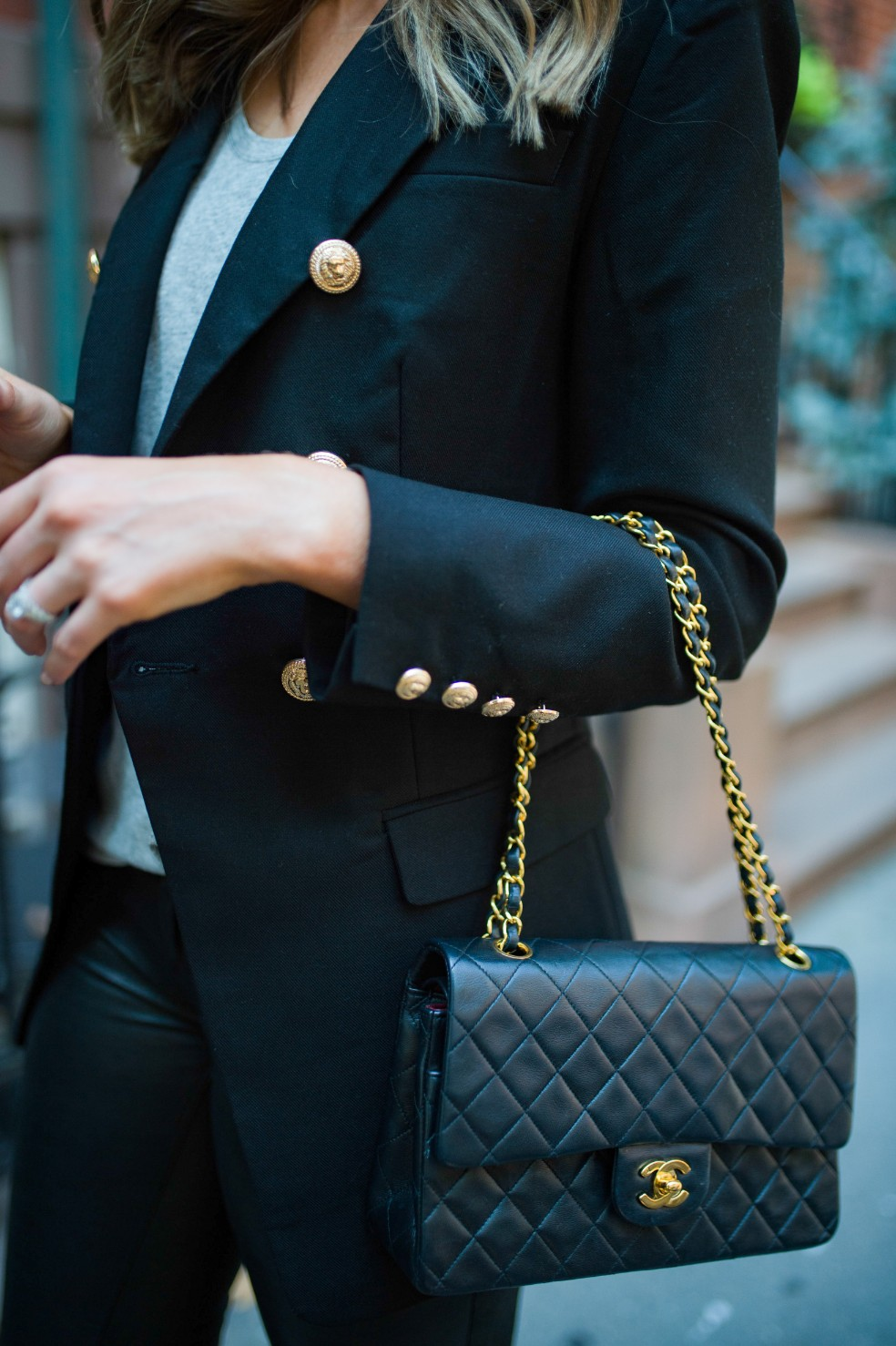 blazer and leather pants outfit ideas grey tee and leather chanel flap bag fashion blogger new york street style 12