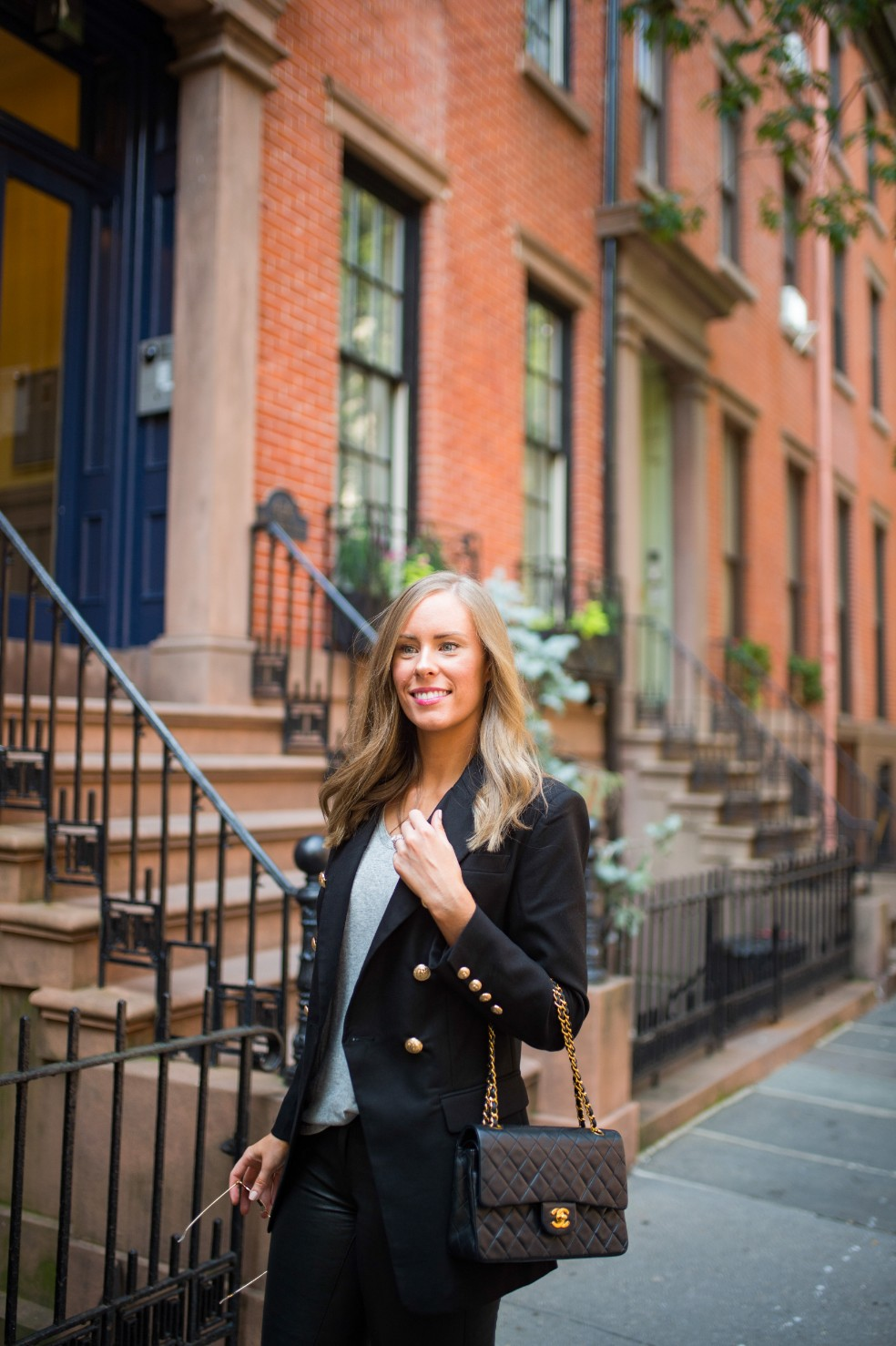 blazer and leather pants outfit ideas grey tee and leather chanel flap bag fashion blogger new york street style 13