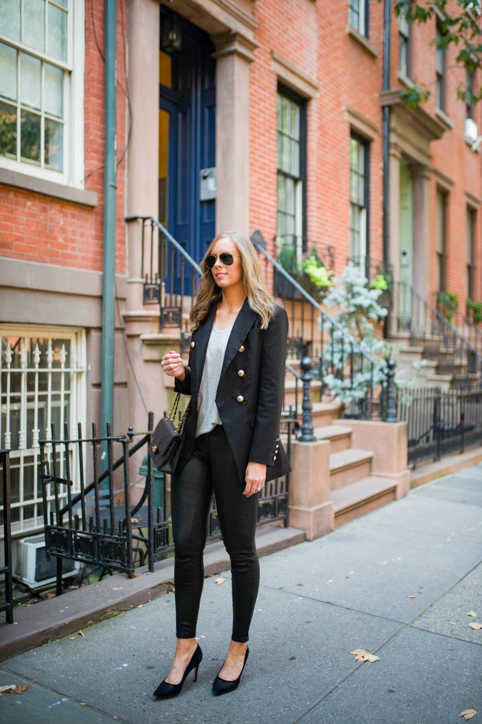 blazer and leather pants outfit ideas grey tee and leather chanel flap bag fashion blogger new york street style 14