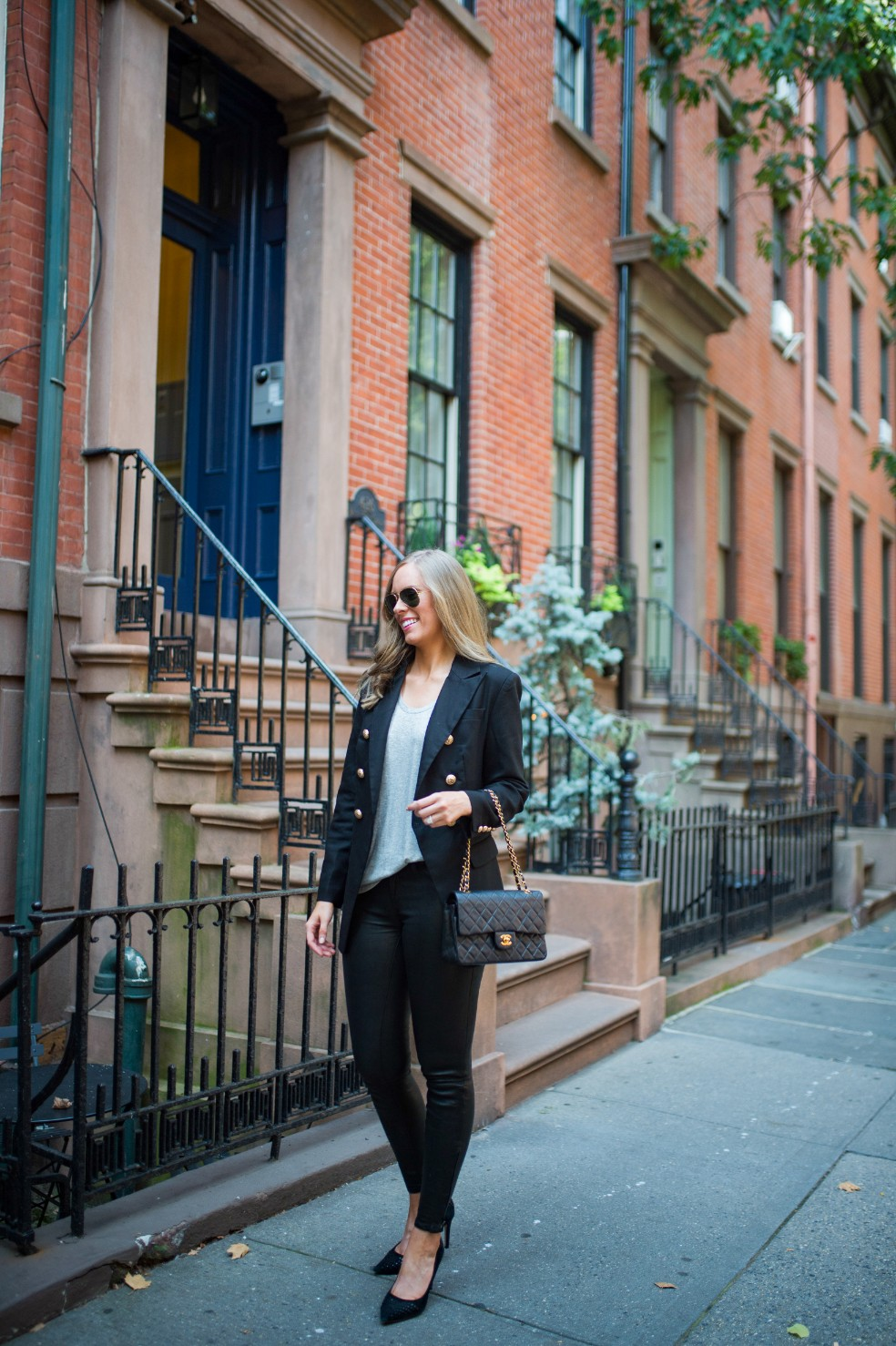 blazer and leather pants outfit ideas grey tee and leather chanel flap bag fashion blogger new york street style 2