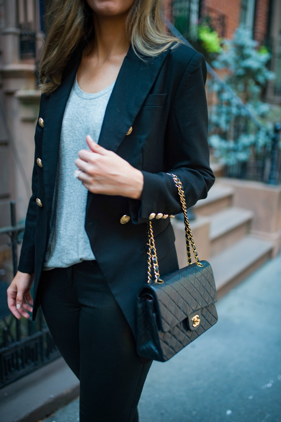 blazer and leather pants outfit ideas grey tee and leather chanel flap bag fashion blogger new york street style 4