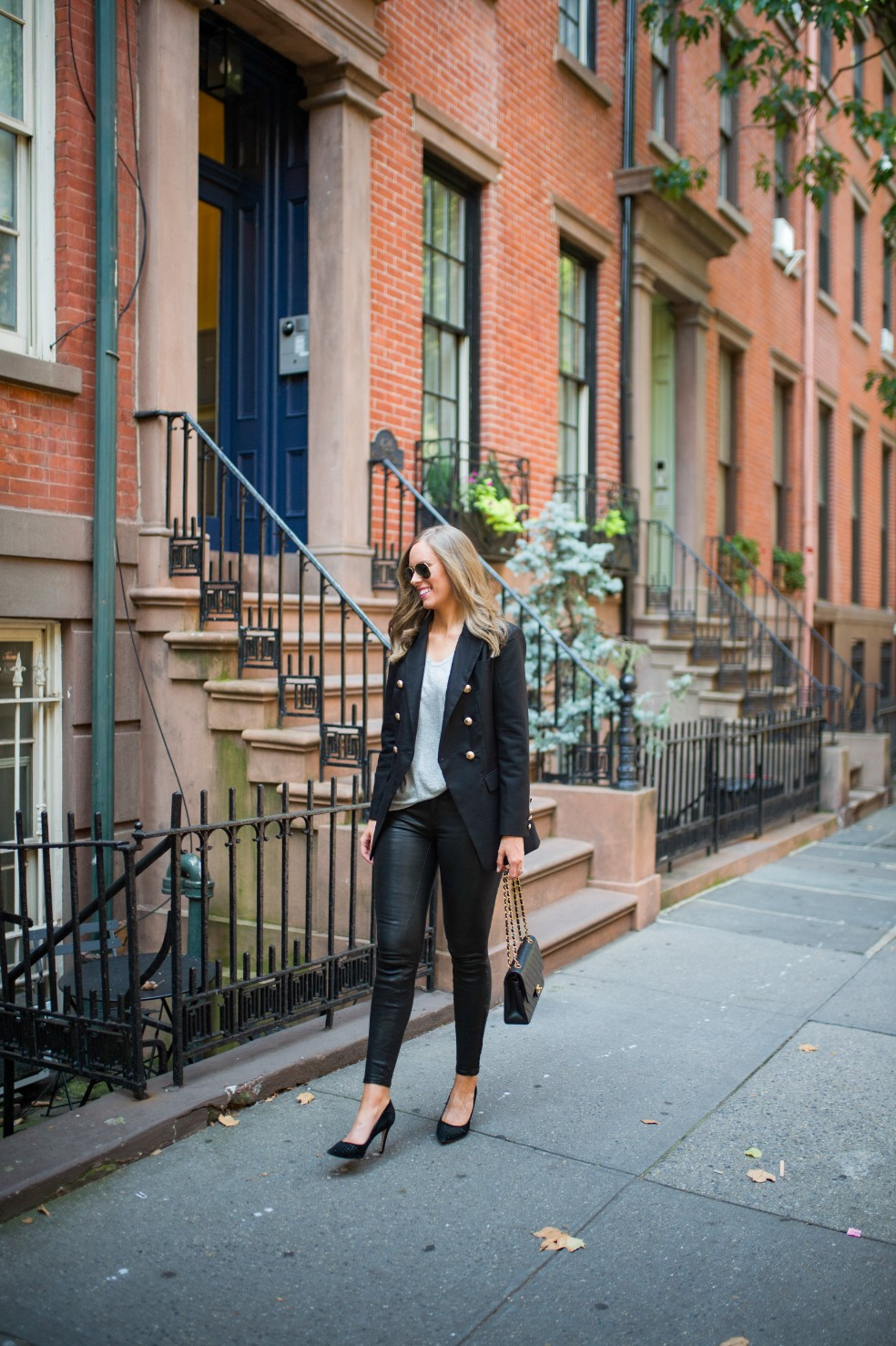 blazer and leather pants outfit ideas grey tee and leather chanel flap bag fashion blogger new york street style 5
