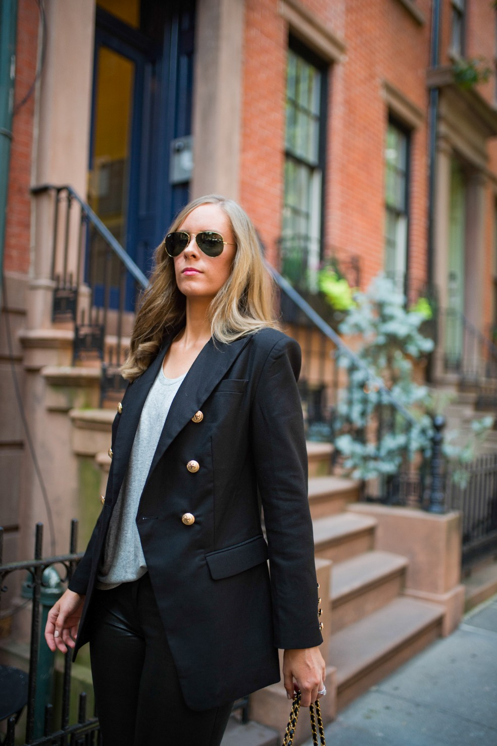 blazer and leather pants outfit ideas grey tee and leather chanel flap bag fashion blogger new york street style 6