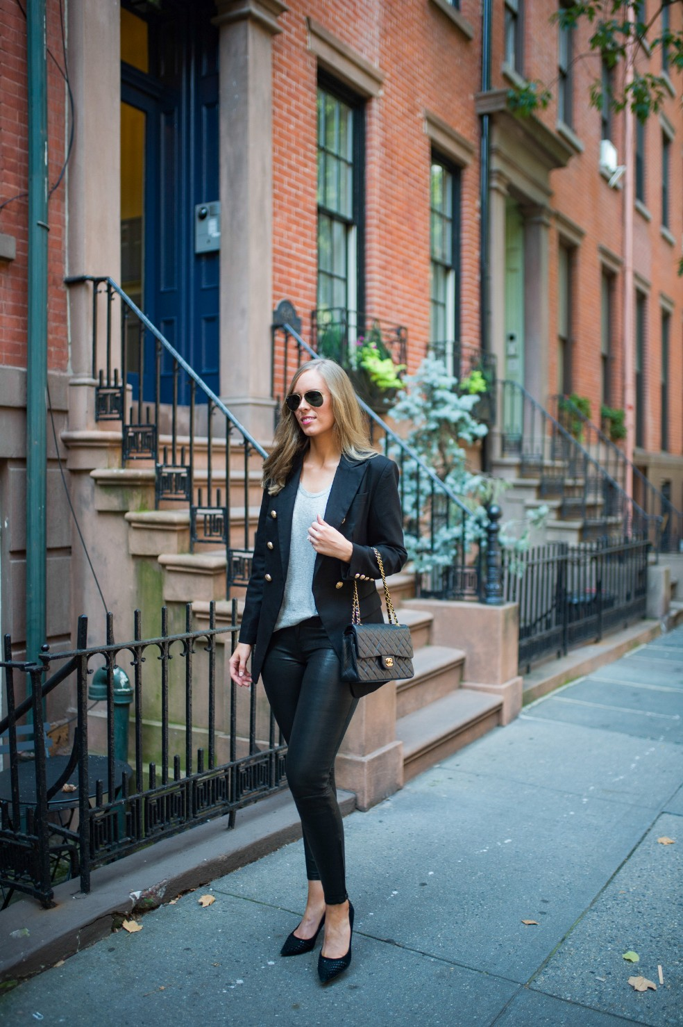 blazer and leather pants outfit ideas grey tee and leather chanel flap bag fashion blogger new york street style 7