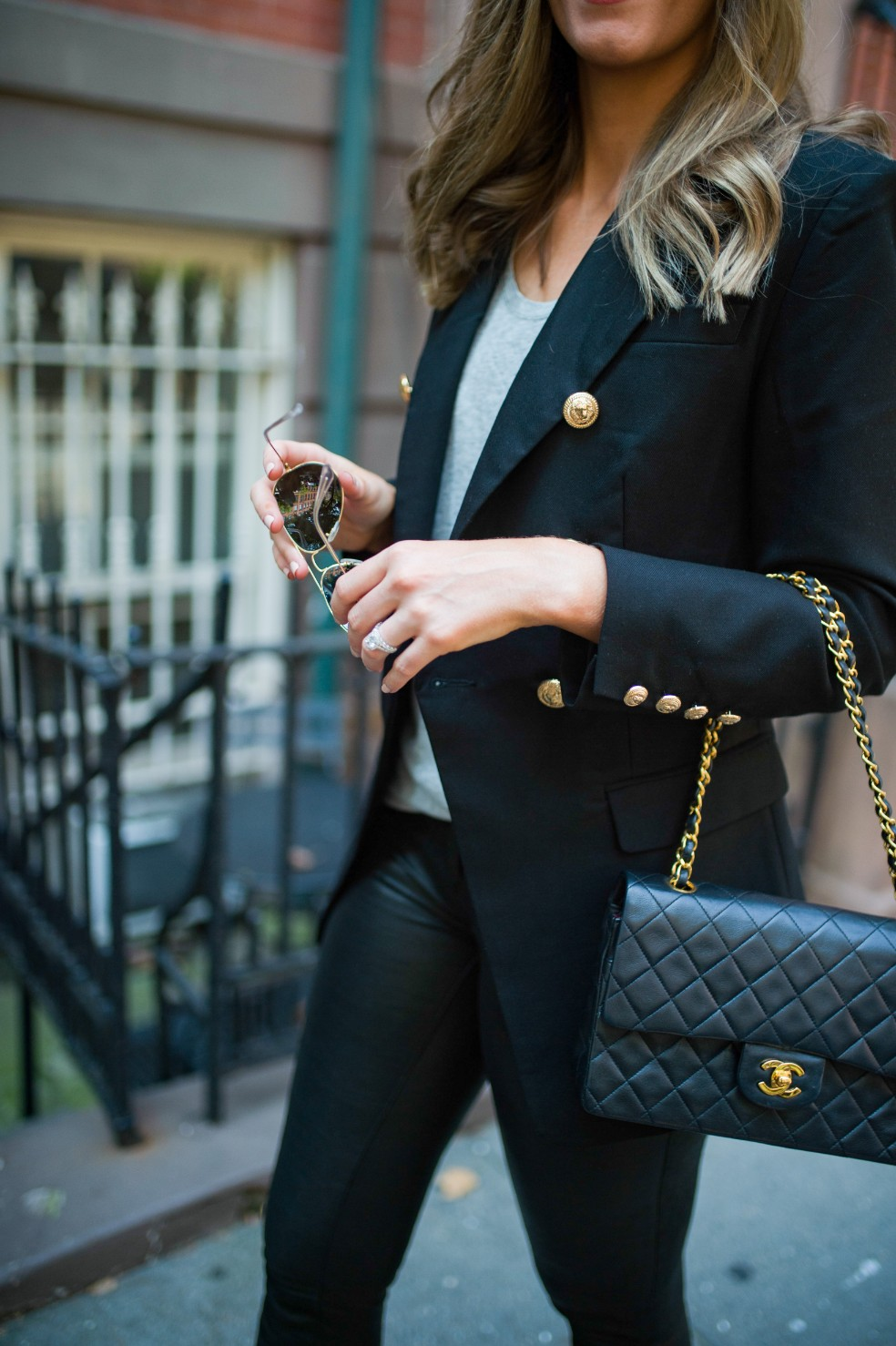 blazer and leather pants outfit ideas grey tee and leather chanel flap bag fashion blogger new york street style 8