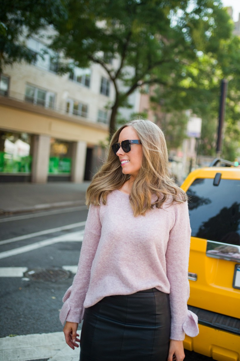 New York | Chanel Bag | Fall Fashion | Nordstrom | Shopbop | Sam Edelman | Fashion | Beauty | Style Sessions - Blush Sweater Outfit featured by top US fashion blog Style Elixir