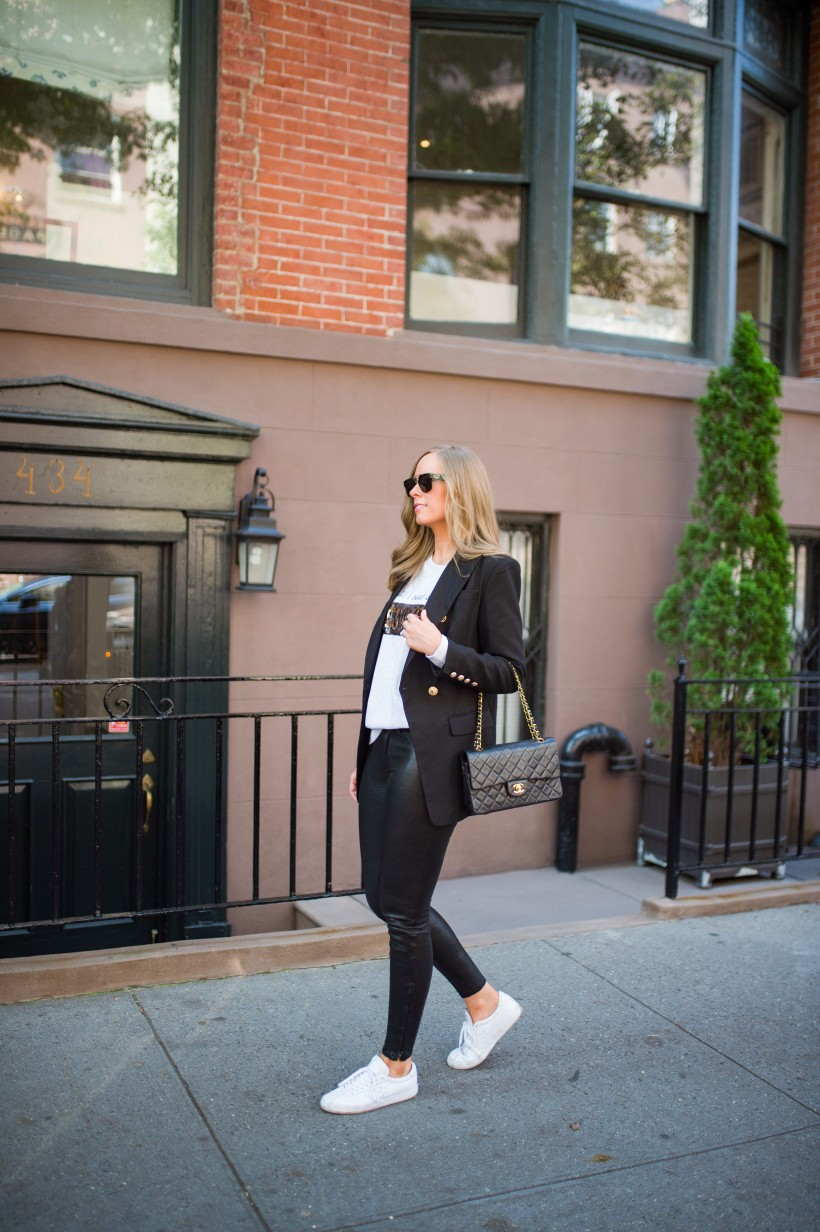 easy outfit ideas fall spring fashion outfit inspo blogger coffee wine sequin sweater leather pants balmain blazer white sneakers monochrome outfit cleine sunglasses 1
