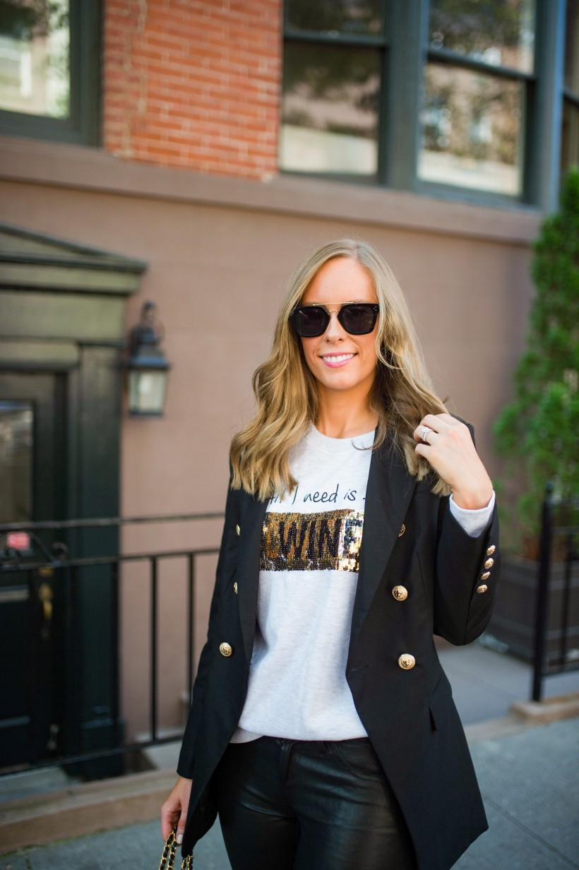 easy outfit ideas fall spring fashion outfit inspo blogger coffee wine sequin sweater leather pants balmain blazer white sneakers monochrome outfit cleine sunglasses 2