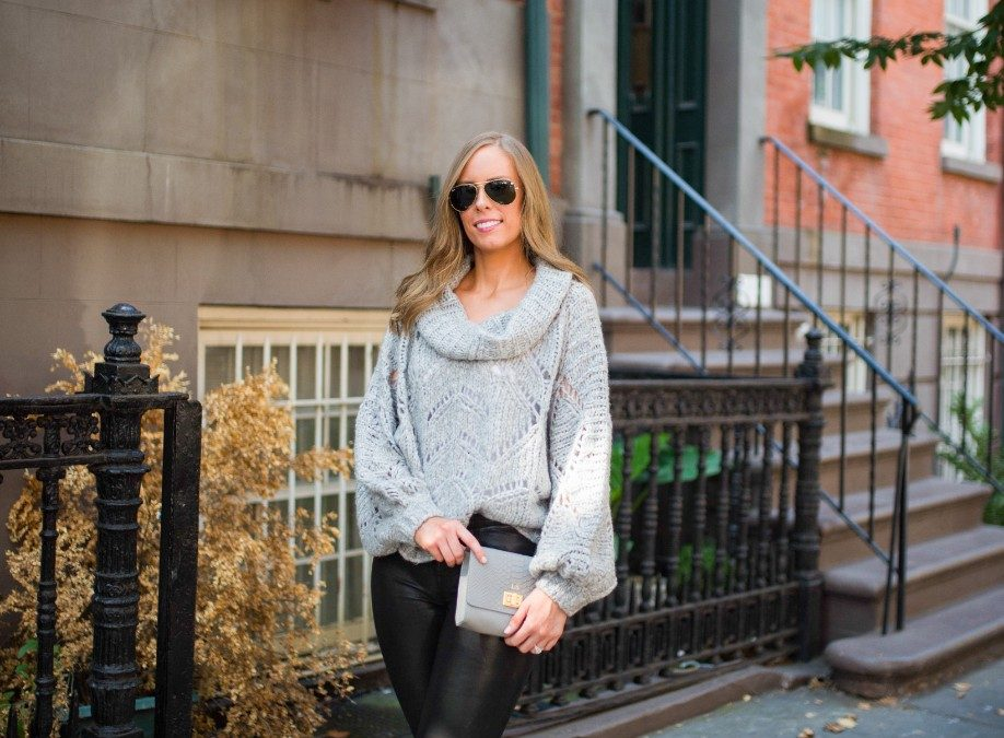 Style Sessions – Grey Sweater and Leather Pants Outfit