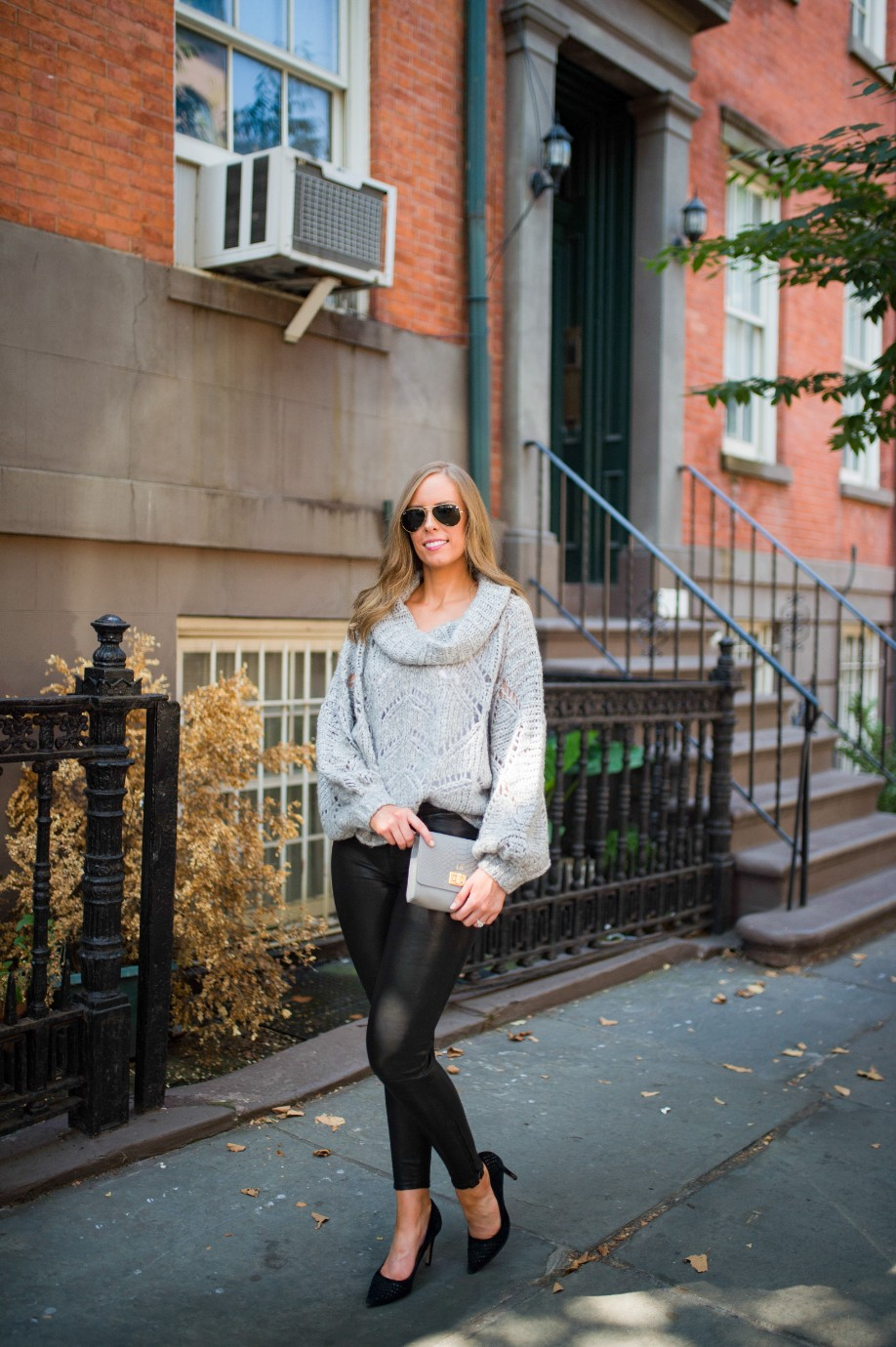 leather pants outfit and grey knit sweater fashion blogger outfit ideas fall winter style lauren slade style elixir 1