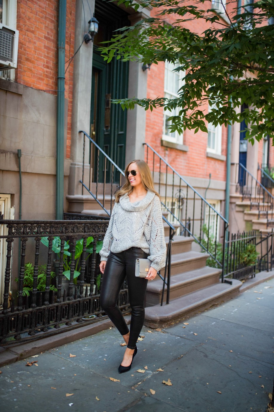 leather pants outfit and grey knit sweater fashion blogger outfit ideas fall winter style lauren slade style elixir 12