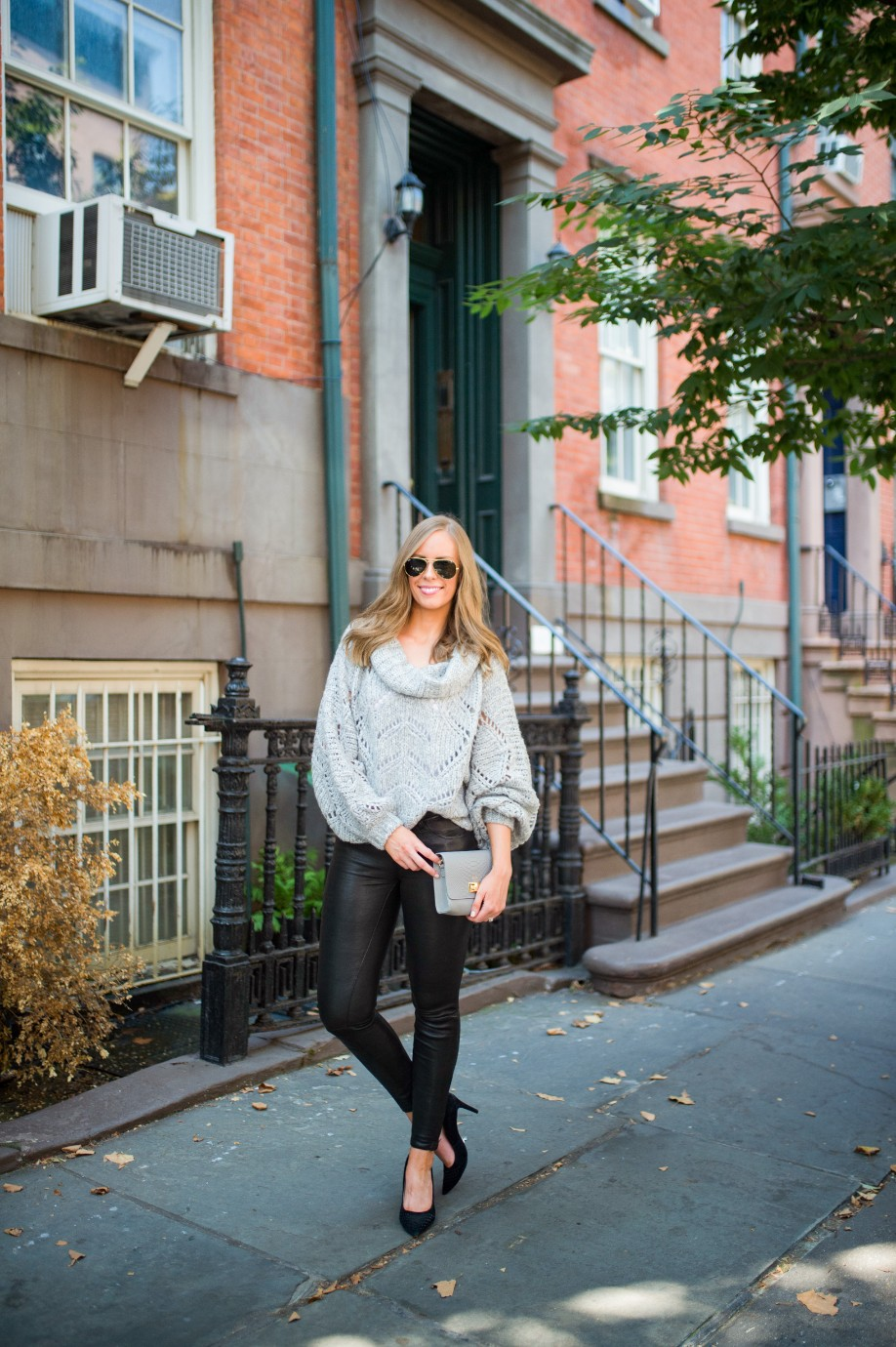 leather pants outfit and grey knit sweater fashion blogger outfit ideas fall winter style lauren slade style elixir 2