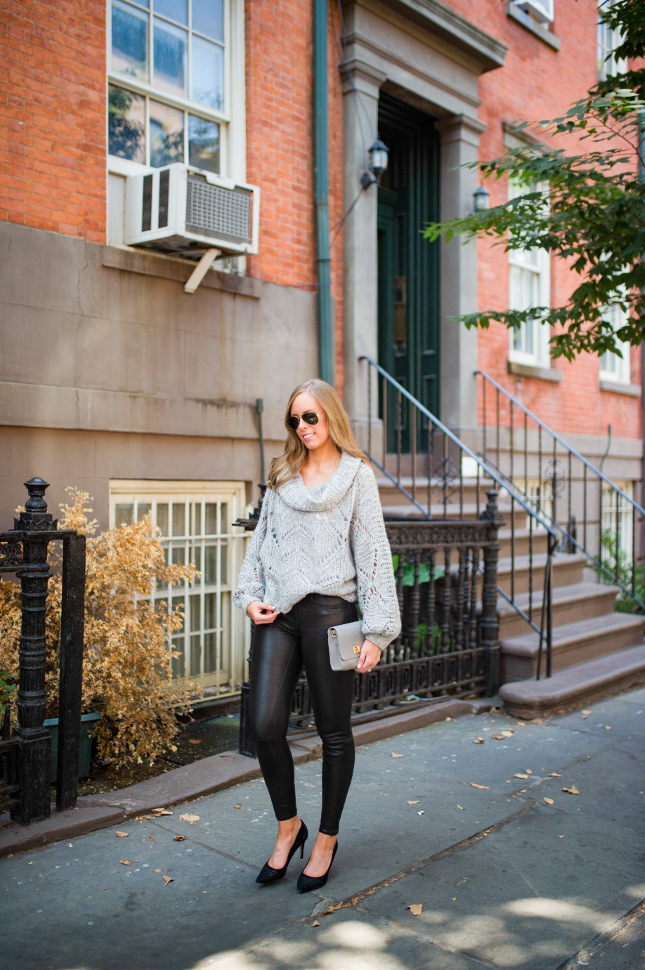 leather pants outfit and grey knit sweater fashion blogger outfit ideas fall winter style lauren slade style elixir 8