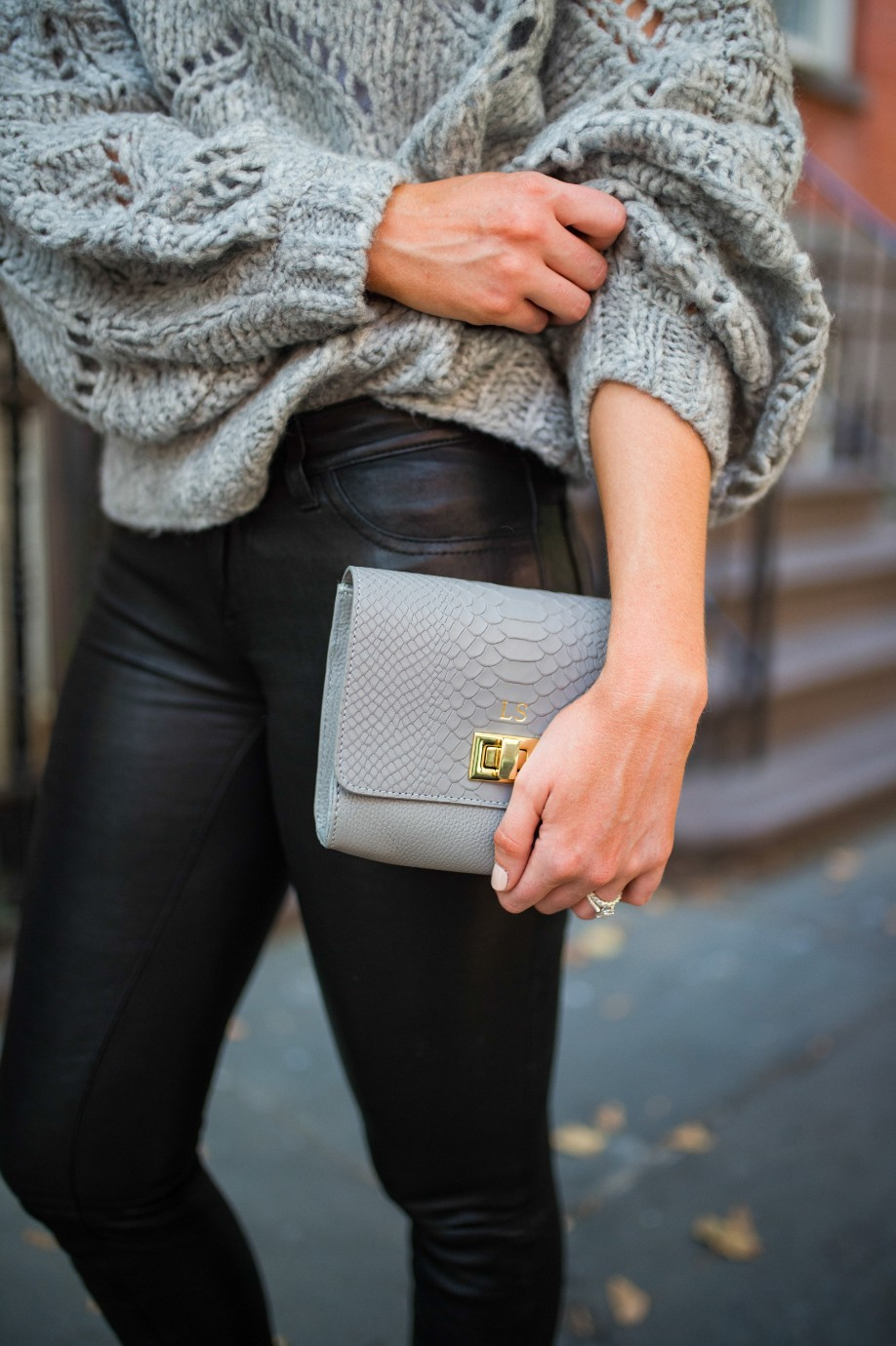 leather pants outfit and grey knit sweater fashion blogger outfit ideas fall winter style lauren slade style elixir 9