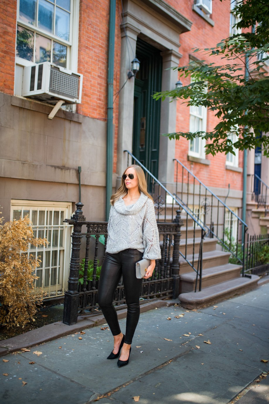 leather pants outfit and grey knit sweater fashion blogger outfit ideas fall winter style lauren slade style elixir