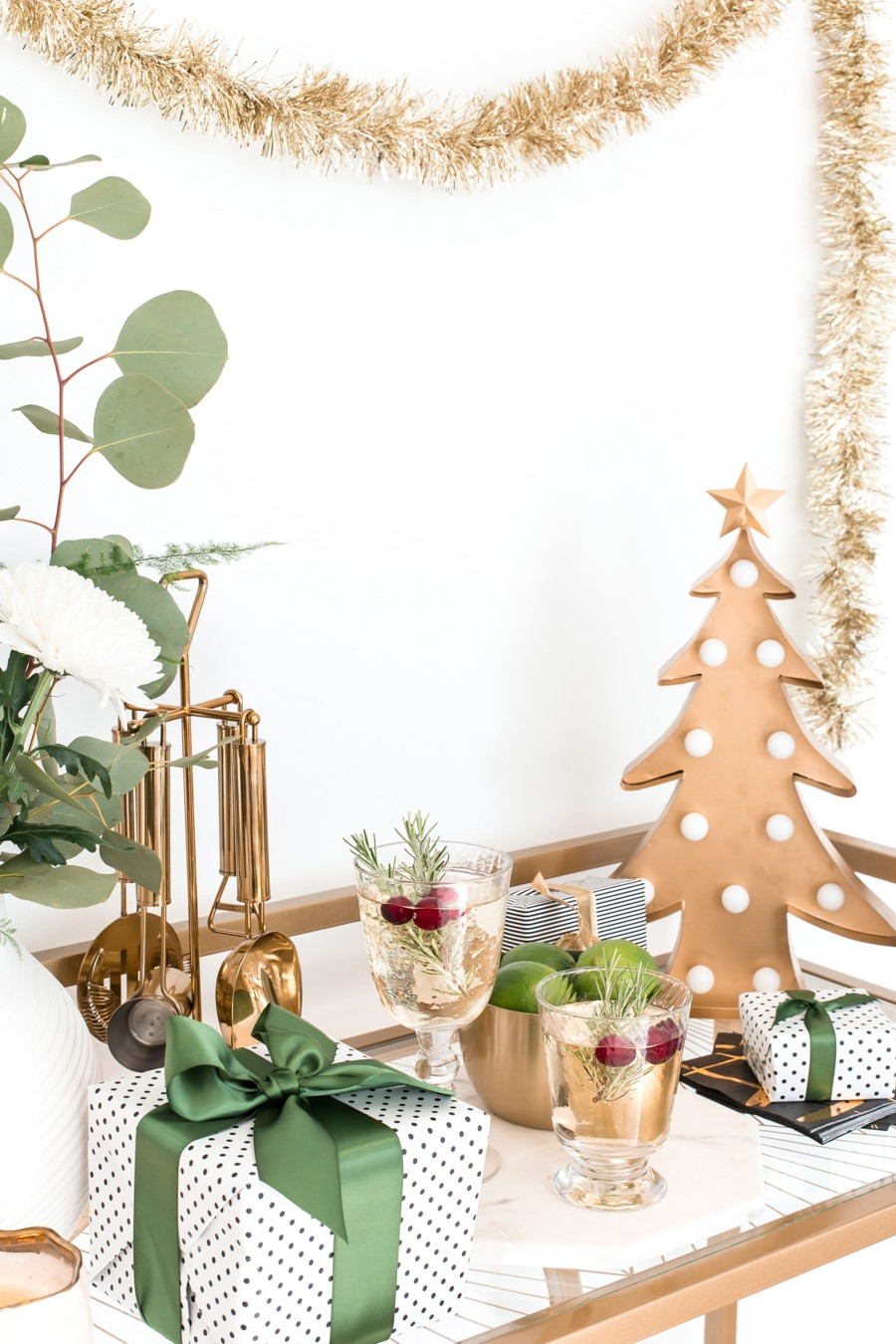 christmas party drinks bar cart