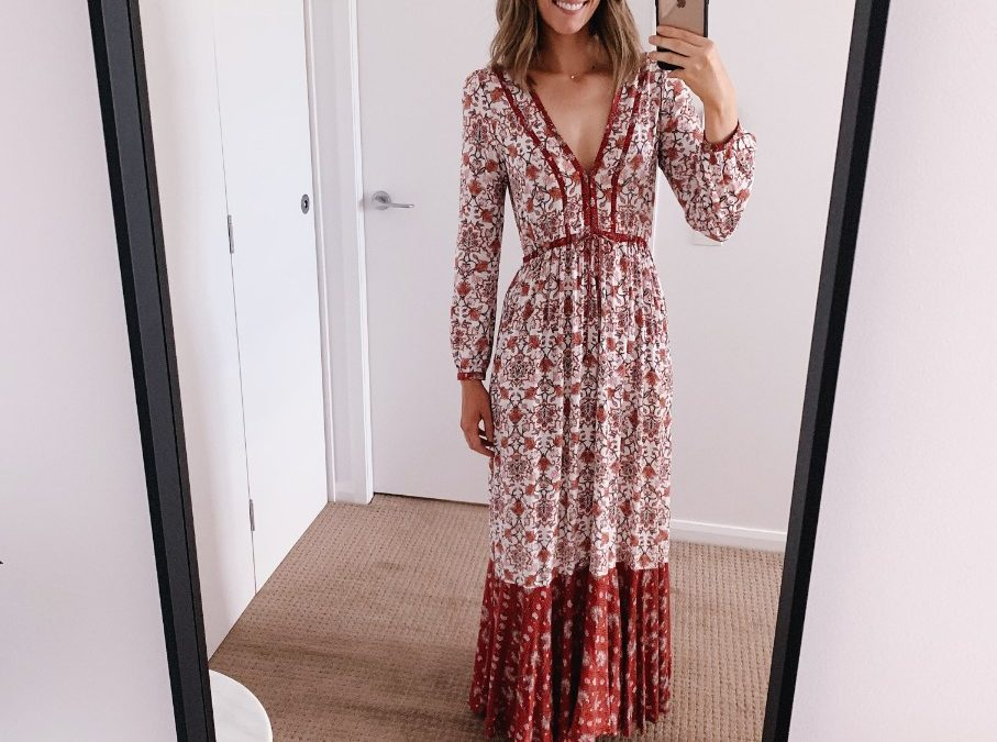 Style Sessions – Red and White Boho Maxi Dress