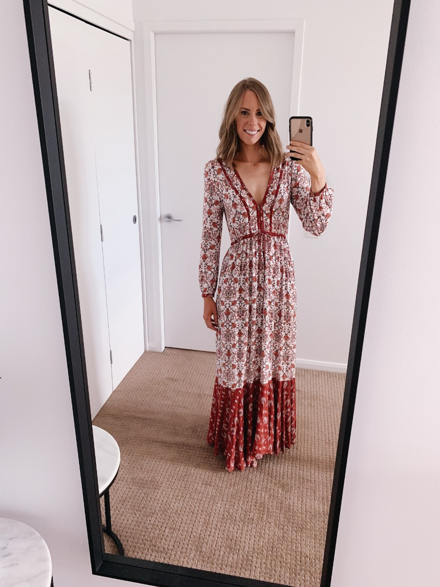 red and white boho maxi dress free people tigerlily dresses boho outfit ideas style elixir fashion blog los angeles