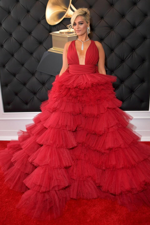 bebe rexha grammy's 2019 fashion red carpet