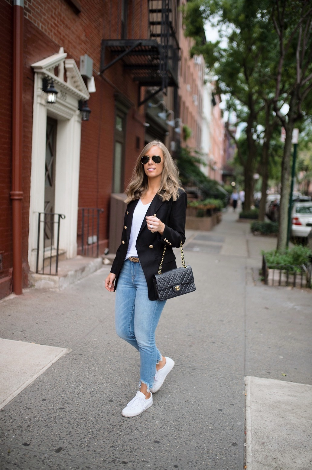 casual-outfit-ideas-blue-distressed-jeans-white-sneakers-balmain-blazer-chanel-bag-fashion-blogger-new-york-street-style-outfit-lauren-slade-style-elixir-blog-1