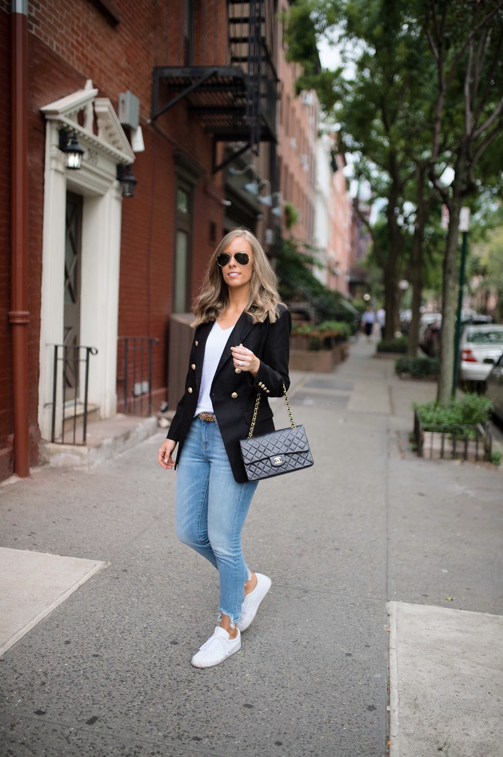 casual-outfit-ideas-blue-distressed-jeans-white-sneakers-balmain-blazer-chanel-bag-fashion-blogger-new-york-street-style-outfit-lauren-slade-style-elixir-blog-2