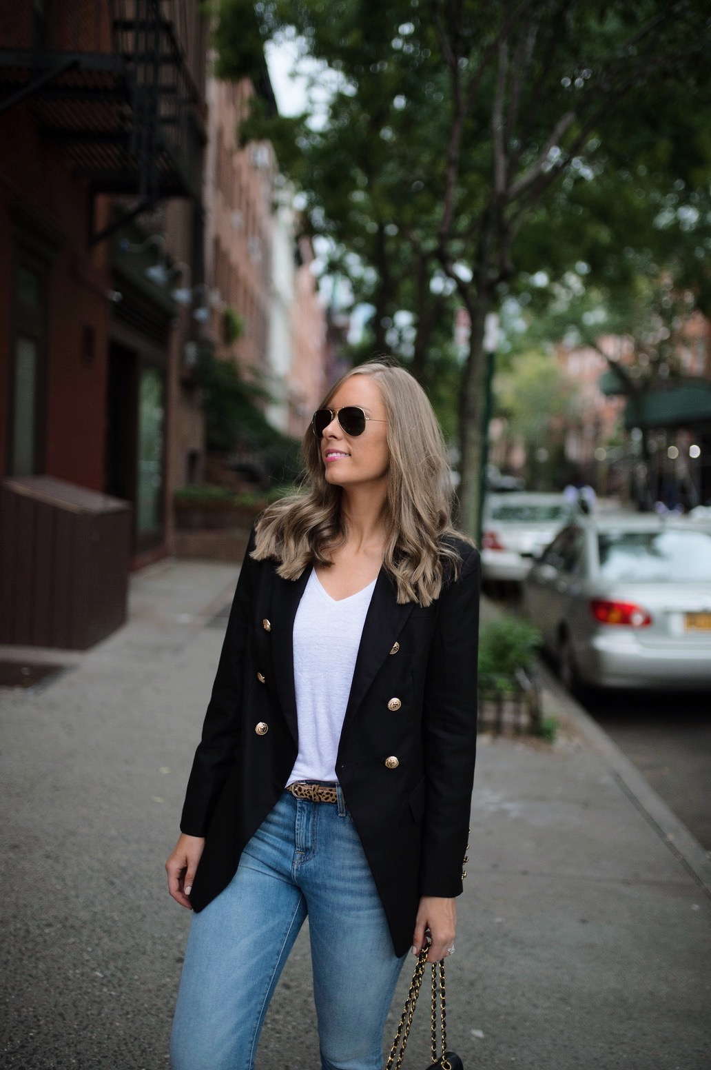 casual-outfit-ideas-blue-distressed-jeans-white-sneakers-balmain-blazer-chanel-bag-fashion-blogger-new-york-street-style-outfit-lauren-slade-style-elixir-blog-3