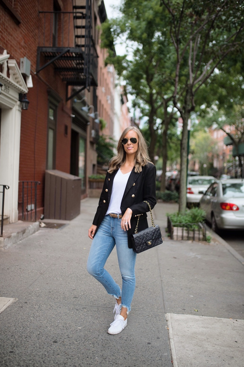 casual-outfit-ideas-blue-distressed-jeans-white-sneakers-balmain-blazer-chanel-bag-fashion-blogger-new-york-street-style-outfit-lauren-slade-style-elixir-blog-6