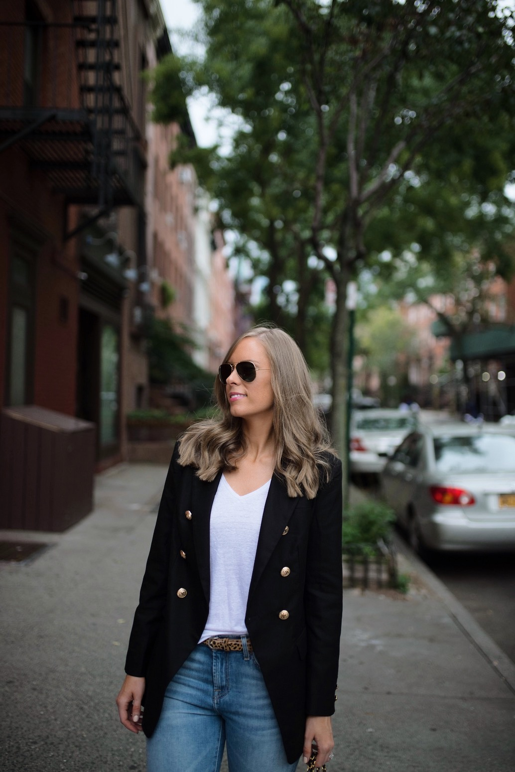 casual-outfit-ideas-blue-distressed-jeans-white-sneakers-balmain-blazer-chanel-bag-fashion-blogger-new-york-street-style-outfit-lauren-slade-style-elixir-blog-7
