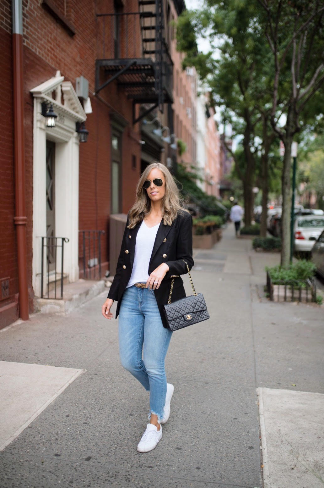 casual outfit ideas blue distressed jeans white sneakers balmain blazer chanel bag fashion blogger new york street style outfit lauren slade style elixir blog