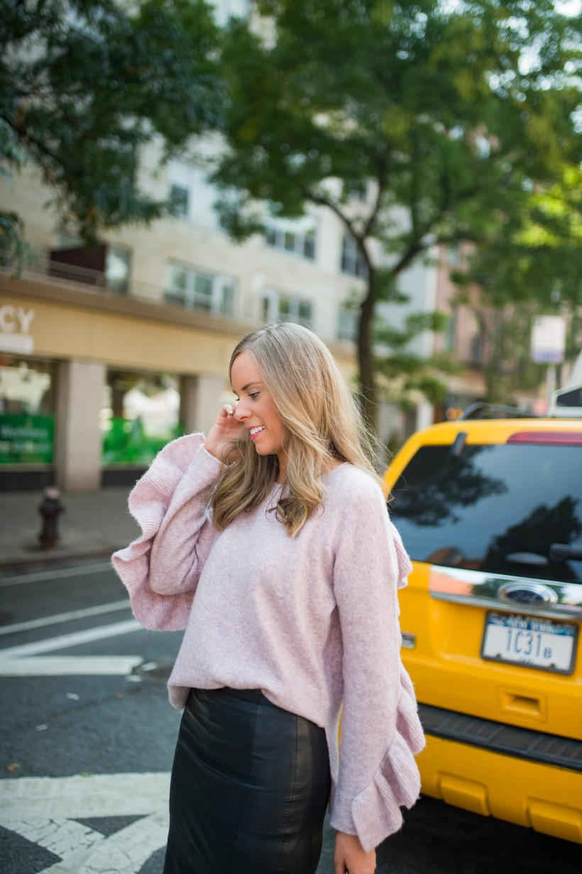 sweater weather outfits blush ruffle sweater french connection street style new york fashion blogger style elixir lauren slade 2