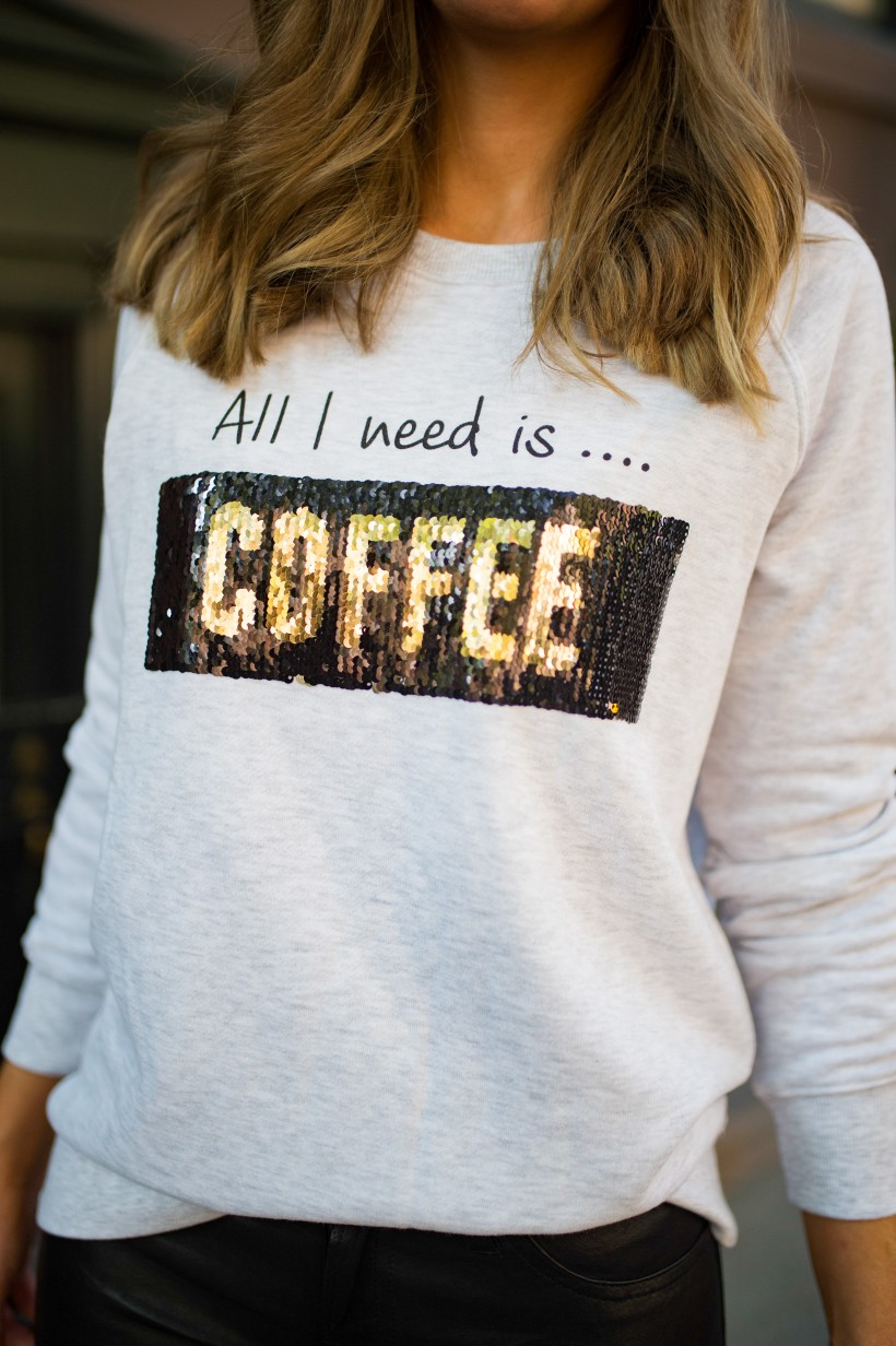 sweater weather outfits coffee sequin sweater kut from the kloth street style new york fashion blogger style elixir lauren slade