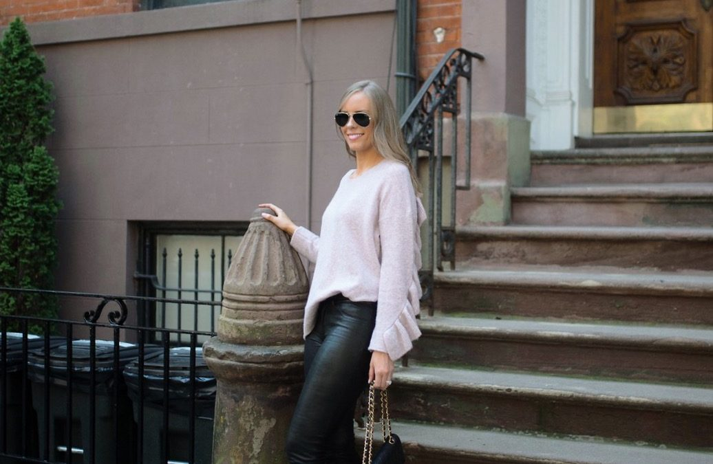 Style Sessions – Blush Sweater and Leather Pants Outfit