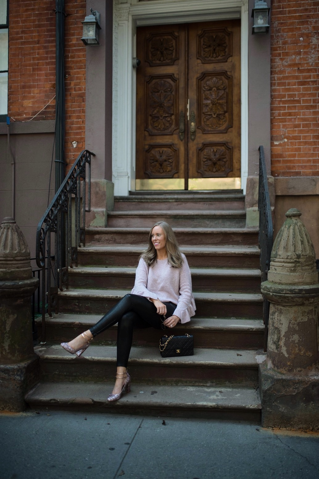 French-Connection-Blush-Sweater-Ruffles-j-brand-black-leather-pants-new-york-street-style-nyc-fashion-blogger-outfit-ideas-style-elixir-lauren-slade-1