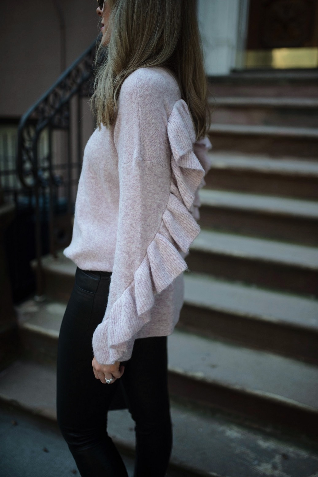 French-Connection-Blush-Sweater-Ruffles-j-brand-black-leather-pants-new-york-street-style-nyc-fashion-blogger-outfit-ideas-style-elixir-lauren-slade