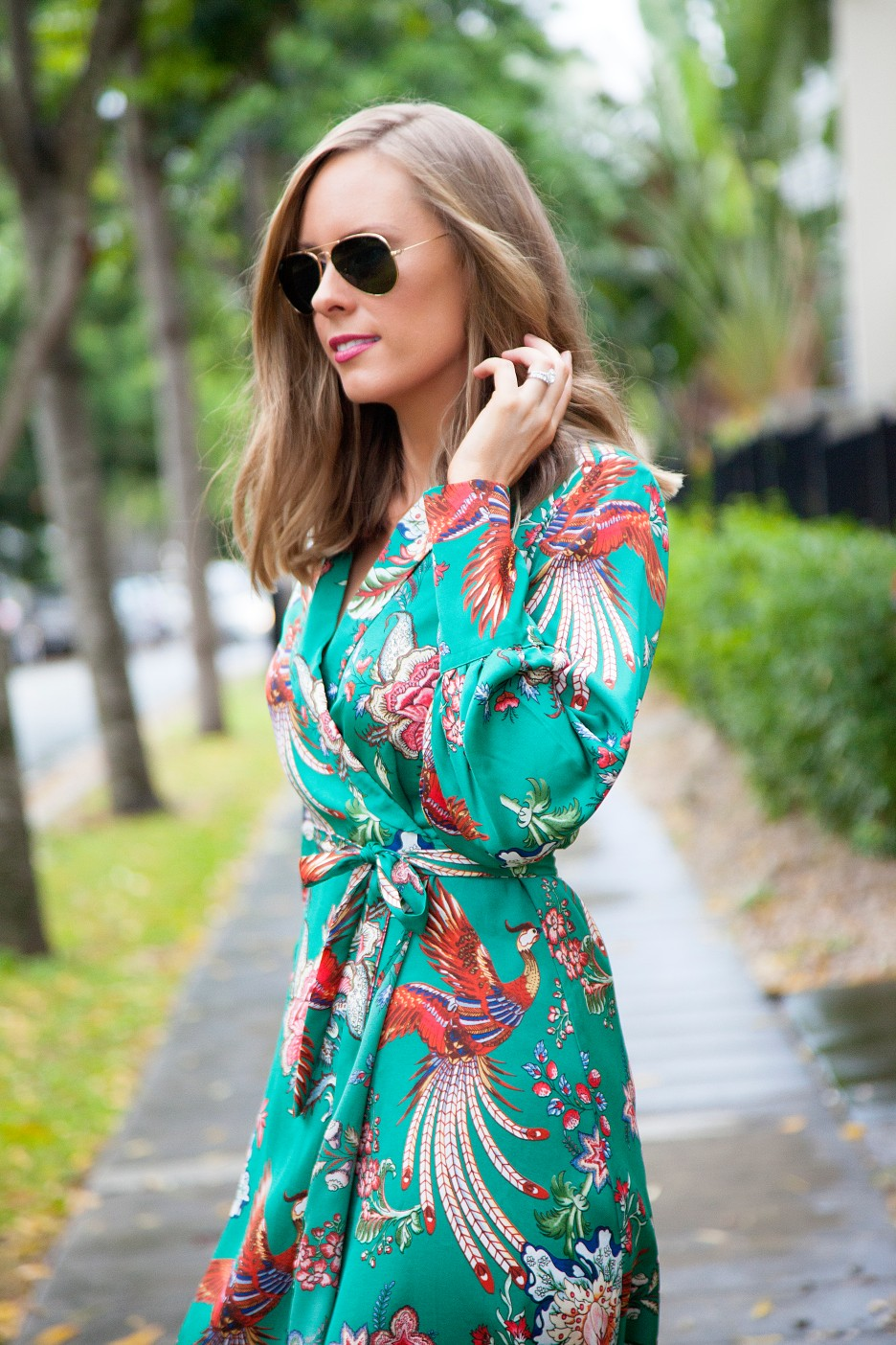 green spring dress floral silk wrap dress fashion blogger spring outfit ideas emerald green style elixir blog lauren slade 3