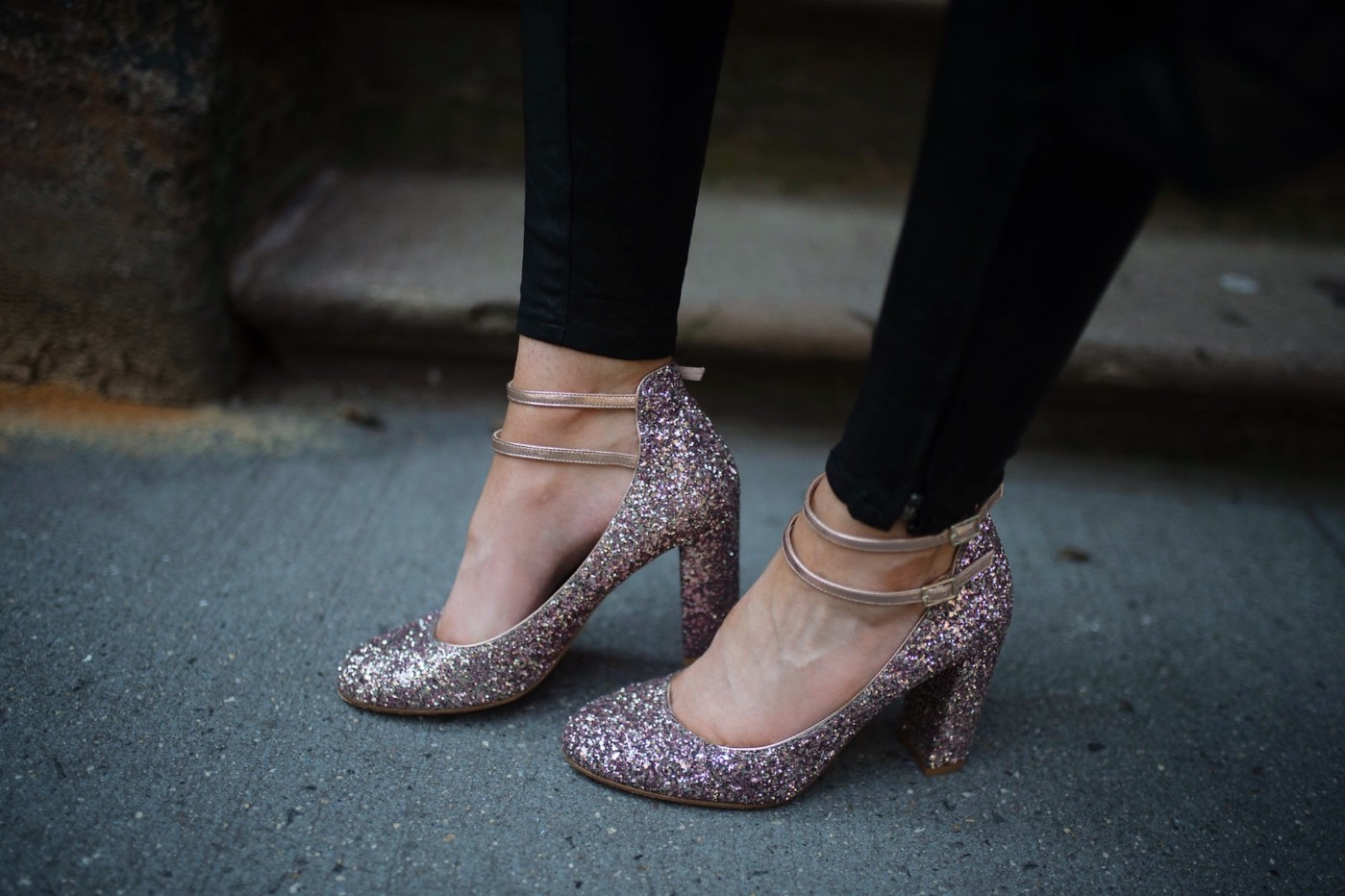 kate spade pink glitter heels weddnig shoes-Blush-Sweater-Ruffles-j-brand-black-leather-pants-new-york-street-style-nyc-fashion-blogger-outfit-ideas-style-elixir-lauren-slade