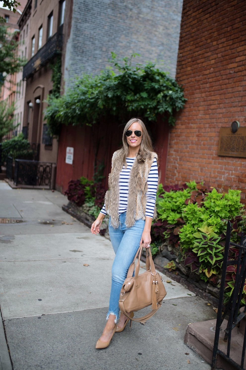 spring weekend outfit idea fur vest navy stripe jcrew top blue ripped jeans 7 for all mankind nude heels blog new york style elixir fashion blogger lauren slade 1