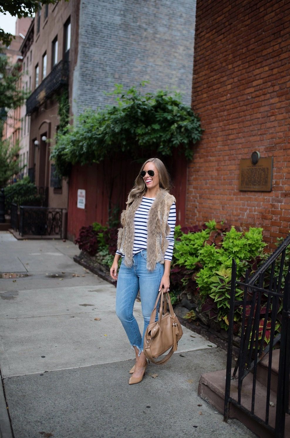 spring weekend outfit idea fur vest navy stripe jcrew top blue ripped jeans 7 for all mankind nude heels blog new york style elixir fashion blogger lauren slade 13