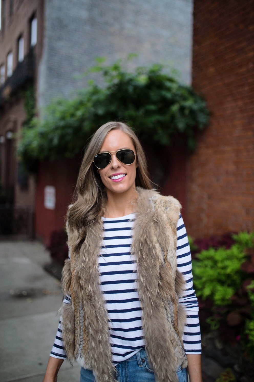 spring weekend outfit idea fur vest navy stripe jcrew top blue ripped jeans 7 for all mankind nude heels blog new york style elixir fashion blogger lauren slade 7
