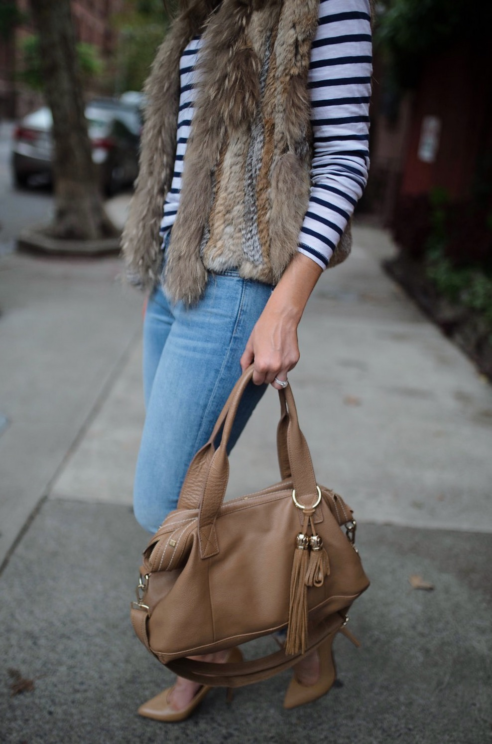 spring weekend outfit idea fur vest navy stripe jcrew top blue ripped jeans 7 for all mankind nude heels blog new york style elixir fashion blogger lauren slade 9