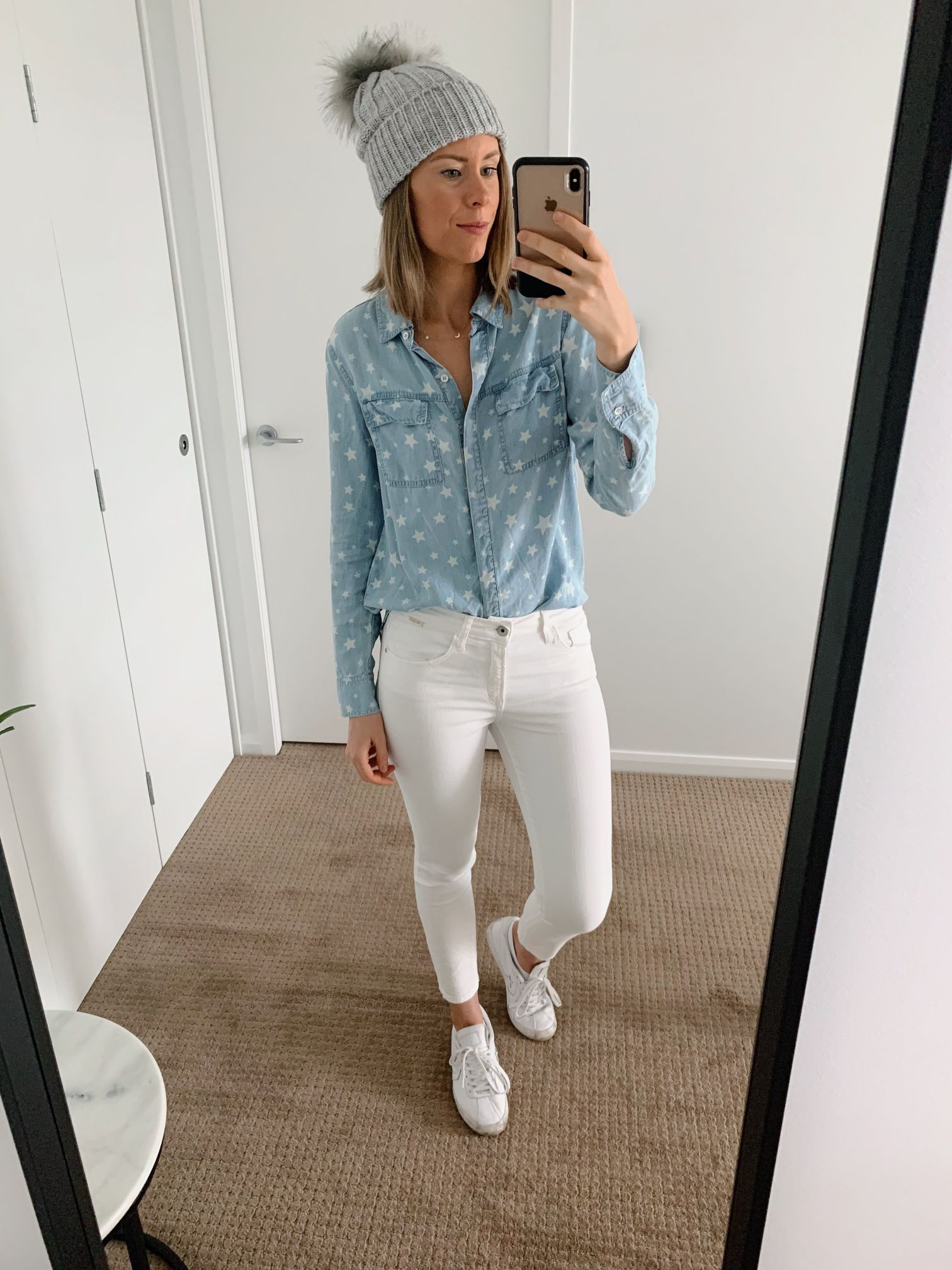 Chambray shirt and white jeans outfit spring style ideas casual weekend fashion blogger 1