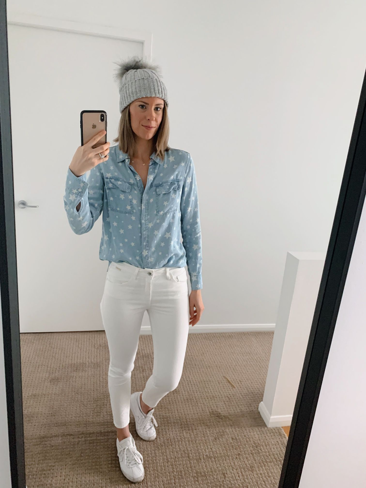 Chambray shirt and white jeans outfit spring style ideas casual weekend fashion blogger 2