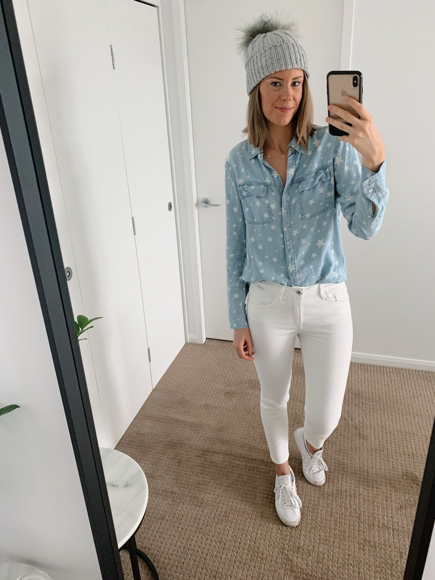 Chambray shirt and white jeans outfit spring style ideas casual weekend fashion blogger 3