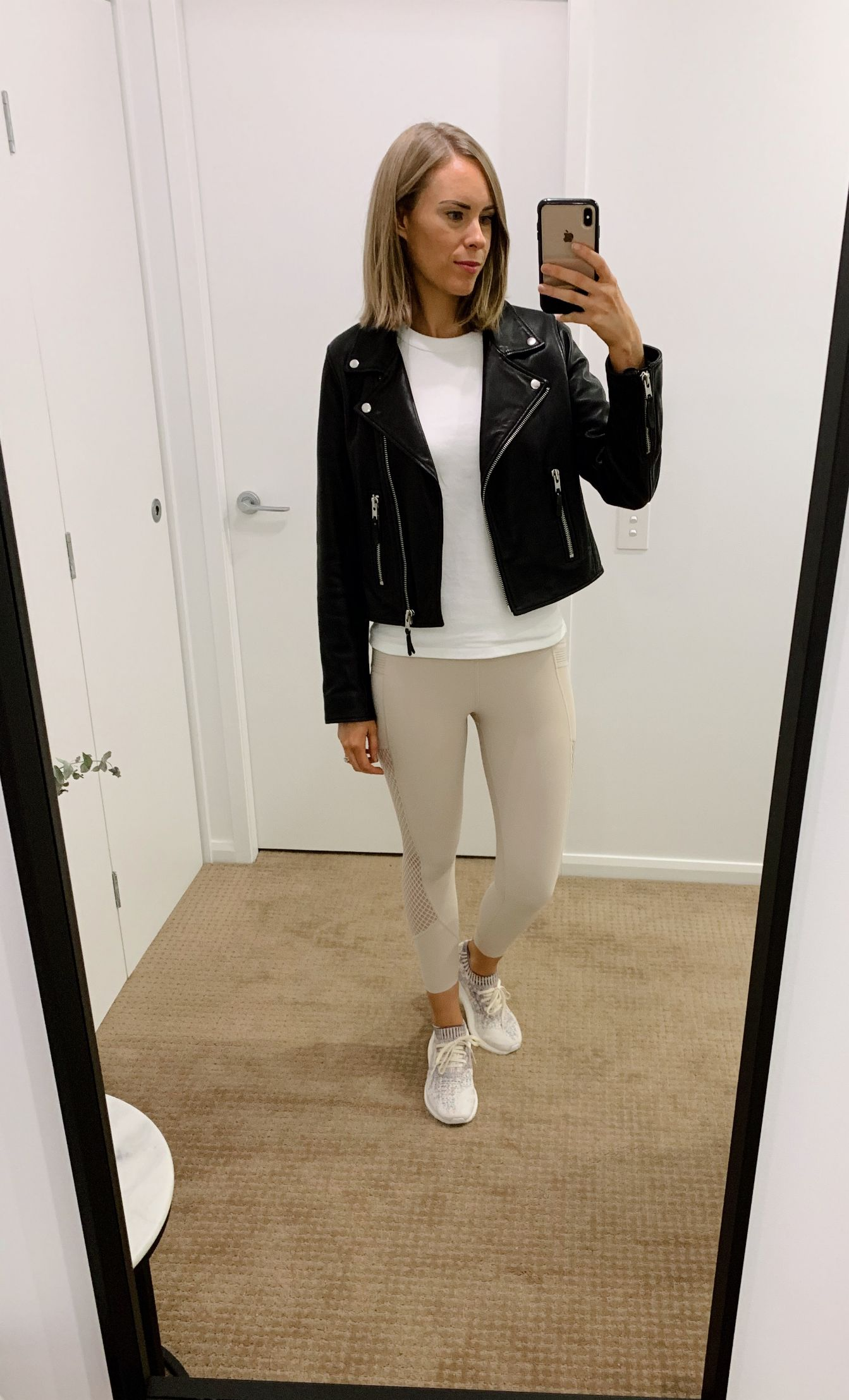 athleisure outfit ideas pinterest fashion blogger style neutral athletic wear workout everyday outfits errands black leather biker jacket white tee and leggings 1