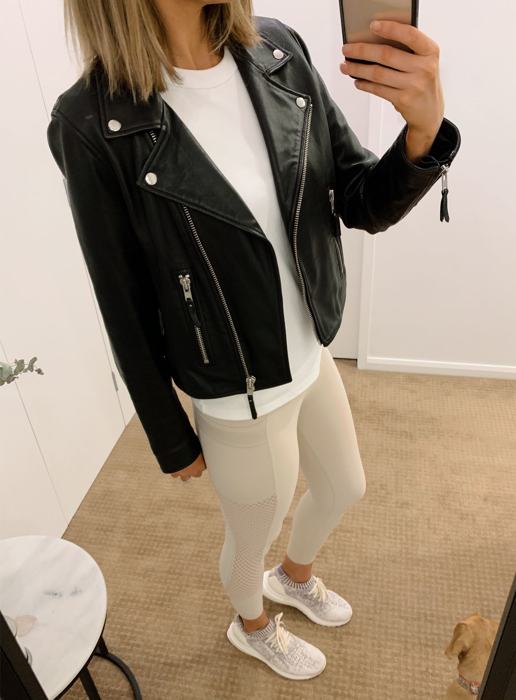 athleisure outfit ideas pinterest fashion blogger style neutral athletic wear workout everyday outfits errands black leather biker jacket white tee and leggings 2
