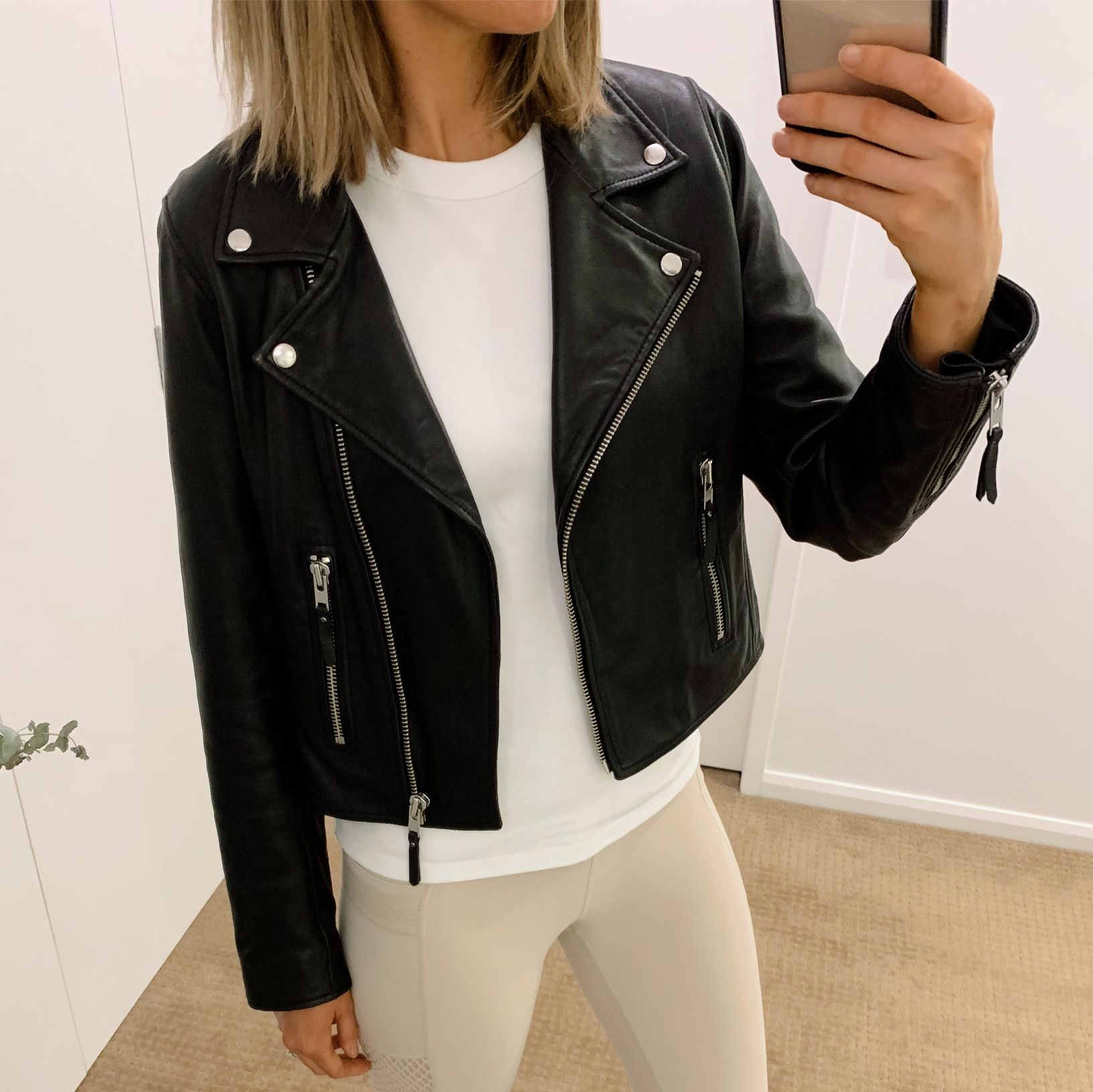 athleisure outfit ideas pinterest fashion blogger style neutral athletic wear workout everyday outfits errands black leather biker jacket white tee and leggings 3